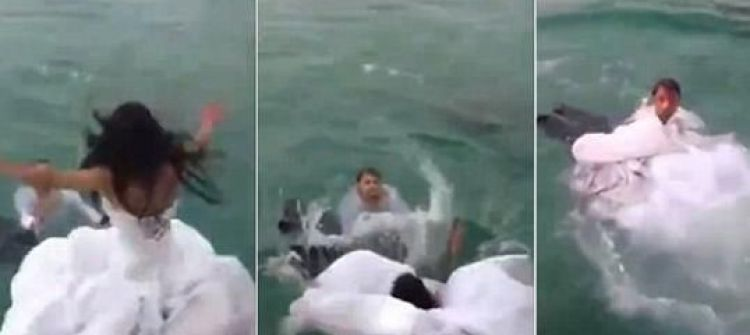 بالفيديو: عروس تغرق بفستان زفافها