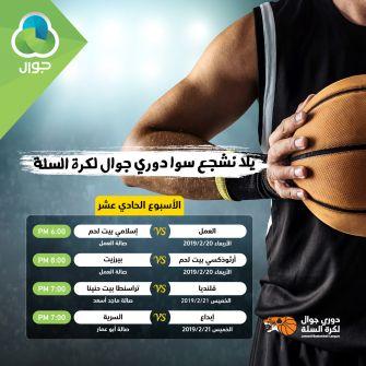 الاتحاد الفلسطيني لكرة السلة  يعلن جدول مباريات الاسبوع الحادي عشر لدوري جوال