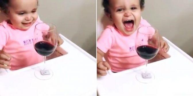 شاهدوا ماذا يفعل كأس نبيذ بهذه الطفلة!