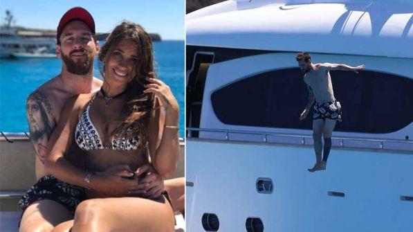 بالصور… ميسي يقضى عطلة رومانسية مع حبيبته انطونيلا روكوزو في إيبيزا الإسبانية