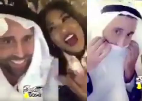 """ألبسته الزي الخليجي وغنّت له.. """"شاهد"""" الفنانة السعودية """"وعد"""" تلتقي بطبيب إسرائيلي في دبي!"""