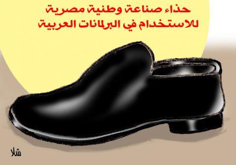 كرتون من شلا 'حذاء صناعة وطنية مصرية للآستخدام في البرلمانات العربية'