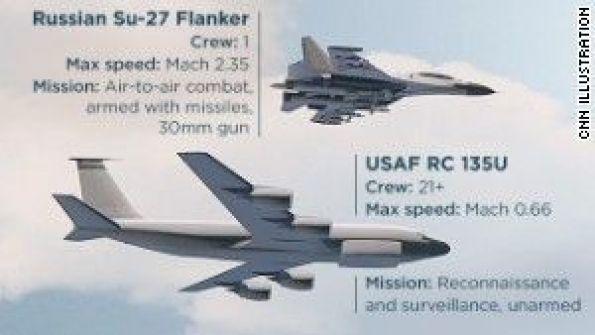 فيديو أخطر مواجهة منذ عشرات السنين.. مقاتلة روسية تعترض طائرة عسكرية أمريكية