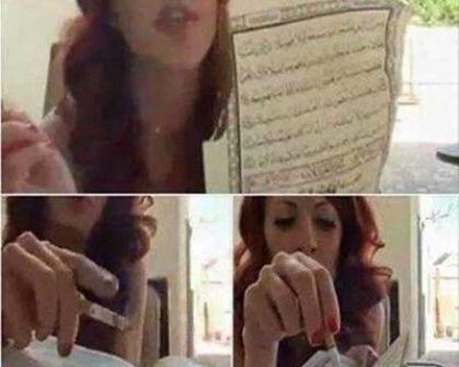 بالصور.. قيادية سياسية تونسية تحرق القرآن الكريم بسيجارتها
