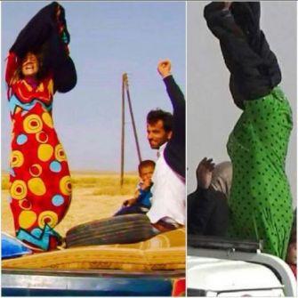 شاهد الفيديو الصور.. نساء يحتفلن ويخلعن السواد فرحا بالهروب من مناطق داعش