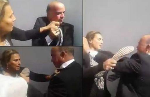فيديو:تونسية تعتدي على مسؤول رفيع