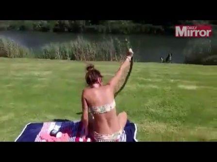 فيديو: فتاة تلتقط ثعبان كوبرا بيديها أثناء حصولها على حمام شمس
