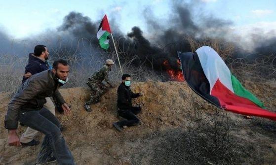 32 اصابة بينها اصابة حرجة بقمع الاحتلال متظاهرين شرق قطاع غزة