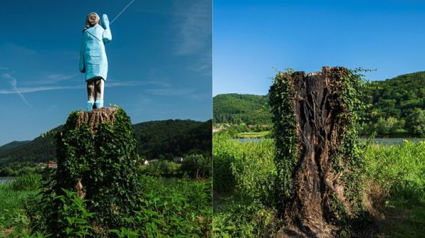 حرق تمثال خشبي لميلانيا ترامب في مسقط رأسها
