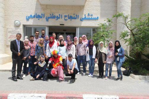 طلبة برنامج تميز 4 مجموعة جامعة النجاح الوطنية ينفذون مبادرة مجتمعية في مستشفى  النجاح الوطني الجامعي