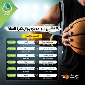 الاتحاد الفلسطيني لكرة السلة يعلن الاسبوع التاسع لدوري جوال