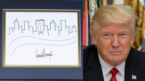 هذه اللوحة رسمها ترمب.. ومعروضة للبيع في مزاد علني في فلوريدا